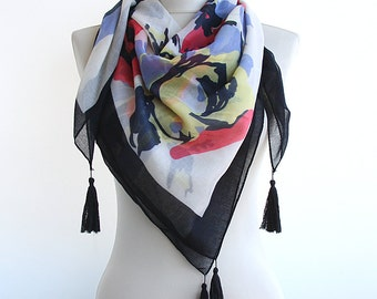 Black summer scarf tassel scarf watercolor scarf abstract art scarf lightweight scarf spring scarves women gift idea for her mothers day