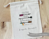 GRADUATION Follow Your Dreams - Personalized Favor Bags - Set of 10 - Feathers - boho - congratulations - Class of 2015