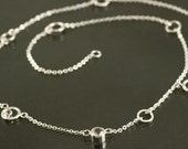 Sterling Silver White Topaz Diamond like Necklace, gemstone necklace, birthstone necklace with circles