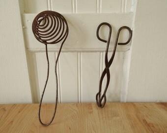 Vintage Rustic Egg Separator and Tongs, Vintage Kitchen Decor, Rustic Metal Kitchen Tools Utensils