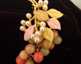1980s Grape Cluster pin, brooch, Glass Balls, Seed pearls and Enamel Leaves,  #48837