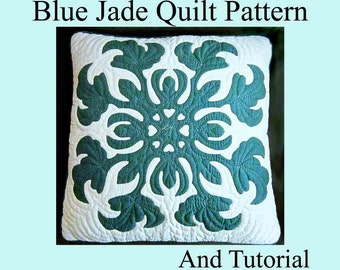 """Hawaiian Quilt Pattern Blue Jade, Pattern and Tutorial PDF, Digital Download, Step By Step Instructions and Photos DIY, 18-22"""" Hawaii Quilt"""