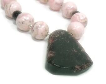 Rhodochrosite Necklace - Rare Jasper Pendant - Gemstone - Blush Pink - Rhodochrosite Jewelry - Handmade - One of a Kind - Sterling Silv
