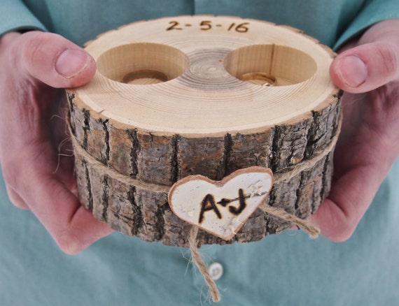 Ring box personalized wooden ring holder ring by for How to make a wooden ring