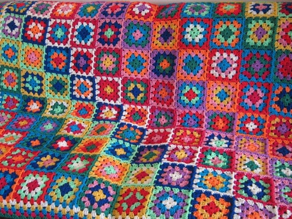 Glorious Bold Contemporary Granny Square Crochet Blanket Large