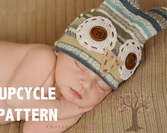 PDF Instant Download Upcycle Newborn Pattern (Owl Beanie Hat) HAT ONLY