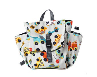 Toddler bag Cotton Children bag Kids day bag, diaper bag -Trucks and cars