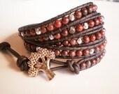 Dragon's Blood Bracelet Rustic Wrap Bracelet Hippie Bracelet 5-Wrap Leather Cuff