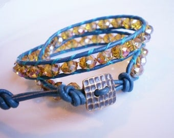 Sparkly Bracelet Faceted Glass Bracelet Leather Wrap Bracelet