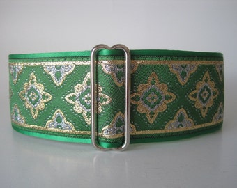 2 inch Martingale Collar, Green Martingale Collar, Emerald Green Jacquard, Greyhound Collar, Green Dog Collar, Wide Dog Collar