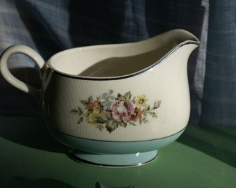 Gorgeous Floral and Blue Creamer
