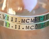 Sterling Silver Roman Numeral Cuff Bracelet, Roman Number, Roman Numeral Jewelry, Birth Date, Anniversary, Engagement Date, Roman Numbers,