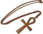 """Handmade Egyptian Ankh Necklace // Vintage 1950s 60's Chain and Ankh Pendant // Brass // 24"""" Necklace"""