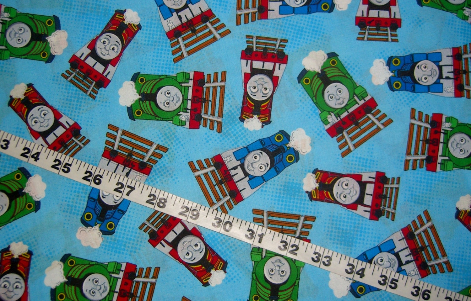 Thomas the train engine fabric cartoon kids quilting sewing for Kids train fabric