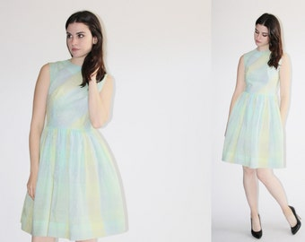 1950s Pastel Cotton Dress - Vintage 50s  Dress - The Sweet Tooth  Dress  - 8065