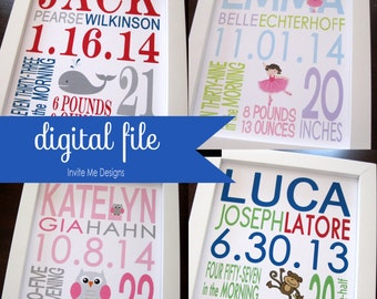 TWO DIGITAL FILEs Birth Print Baby Boy Girl Nursery Decor Wall Art 8 x 10 or 11 x 14
