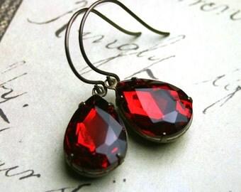 Siren Red Vintage Glass Jewel Earrings - Jewelled Teardrop Earrings - Light Siam Red - Designer Patina Brass Earwires