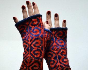 Hand-Knit Orange Fingerless Gloves - Orange Wrist Warmers - Orange Gloves - Winter Fashion nO 48.