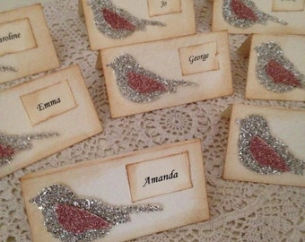Beautiful Bird Glass Glittered Place Cards