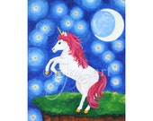 "Unicorn Under Starry Night,  8""x10"" Wall Art Print For Girls Room"