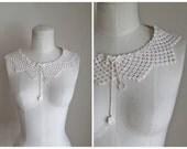 vintage 1930s crochet collar - SNOWFLAKE  cotton detachable collar