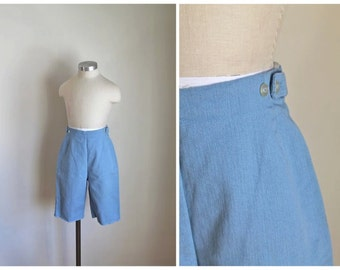 vintage 1960s denim shorts - PYKETTES chambray peddle pusher / teen / XXS