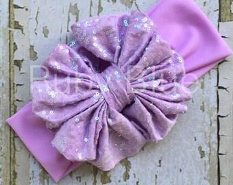 Lavender Sparkle Messy Bow Head Wrap