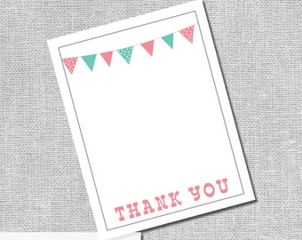 Printable Thank You Card - Baby-Q Bash with Banner - Instant Downloand DIY Digital Files -  #00079-ID