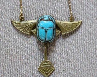 1920s Deadstock Egyptian Revival Scarab Necklace with Wings, Scarab Jewelry NEW/OLD!