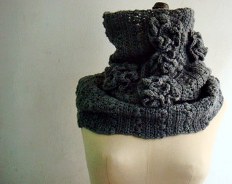 Grey Cowl, Crochet Infinity Scarf, Crocheted Circle Scarf, Gray Snood with Roses