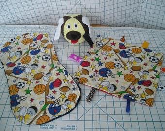 Baby Tag Security Blanket, Rag Burp Cloth, Soft Toy Ball - 3 piece set
