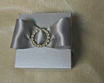 3x3 Favor Box -- Silver Favor Box -- Chocolate Box - Crysyal Favor Box
