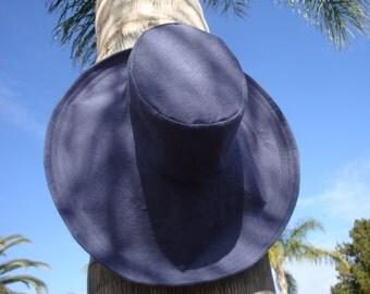 Navy Wide Brim Sun Hat Linen Sun Hat Elegant Wide Brim Wedding Honeymoon hat Kentucky Derby Hat Del Mar Racetrack Freckles California