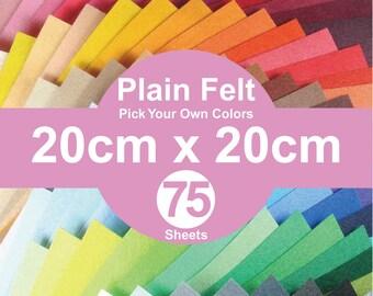 75 Plain Felt Sheets - 20cm x 20cm per sheet - Pick your own colors (A20x20)