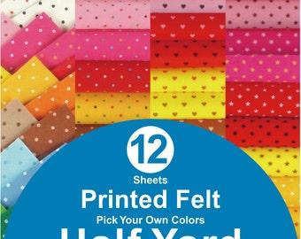 12 HALF YARD Printed Felt Fabric - pick your own colors (PR1/2y)