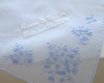 Blue color cotton handkerchief with corner floral embroidery personalized with Bride and Groom's Names and Date