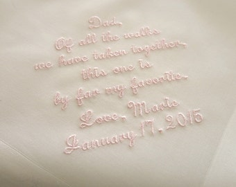 Wedding Handkerchief for Father of the Bride on Ivory Color Men's Handkerchief with Custom Message No. 5