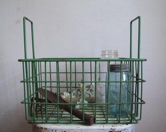 Vintage industrial metal crate tall handles green plastic coating over steel excellent storage garden porch bathroom laundry room kids crate
