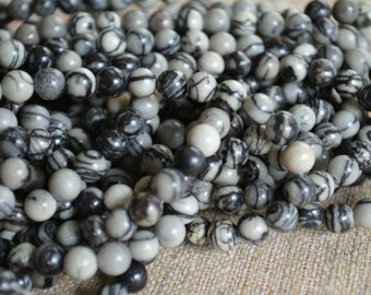 66pcs 6mm Black Silk Stone Natural Gemstone Beads 16 Inches