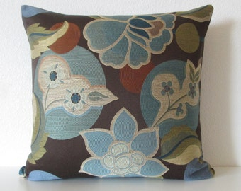 Pillow Cover - Esme River floral leafs brown blue green pillow cover