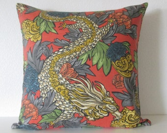 Ming Dragon pillow cover - Dwell Studio - Persimmon -  Chinoiserie - Chinese Dragon - Decorative cushion cover