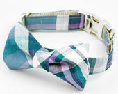 Madras Bow Tie Dog Collar