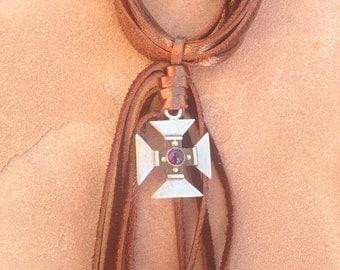 Leather Fringe Amethyst Cross Necklace
