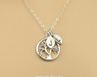 Mother Necklace, Silver Tree of Life Necklace, Family Tree Pendant, Personalized Jewelry, For Sisters Friends, Monogram Leaf Pendant