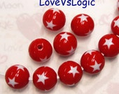 6 Lucite Beads with Stars. 2 Tones. 15mm. Red with White Stars.