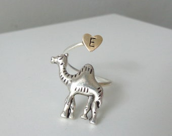 silver camel elephant ring wrap style, adjustable personalized heart, animal ring, silver ring, statement ring