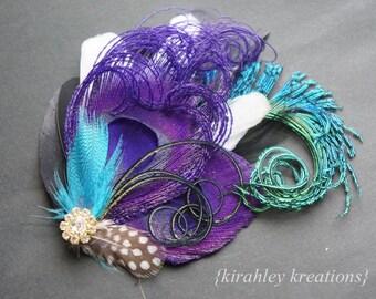 Purple Teal Black White Peacock Sword Feather Rhinestone Prom Fascinator IRIDESSA Dance Bridesmaid Hair Clip Bride Wedding Headpiece