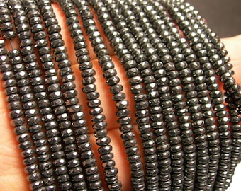 Hematite - 2x4mm faceted rondelle beads - full strand - 184 beads - A quality - CHG35