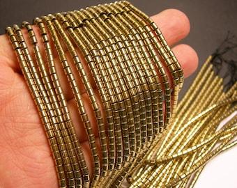 Hematite gold - 3x3mm tube beads - full strand - 133 beads - AA quality - light gold  - PHG148