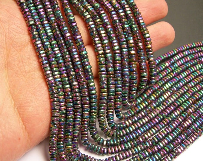 Hematite rainbow - 4mm x 2mm heishi square slice beads - full strand - 202 beads - AA quality - PHG177